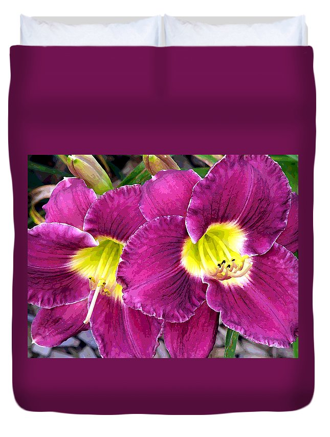 Lilies Duvet Cover featuring the photograph Purple Lilies by Jean Hall