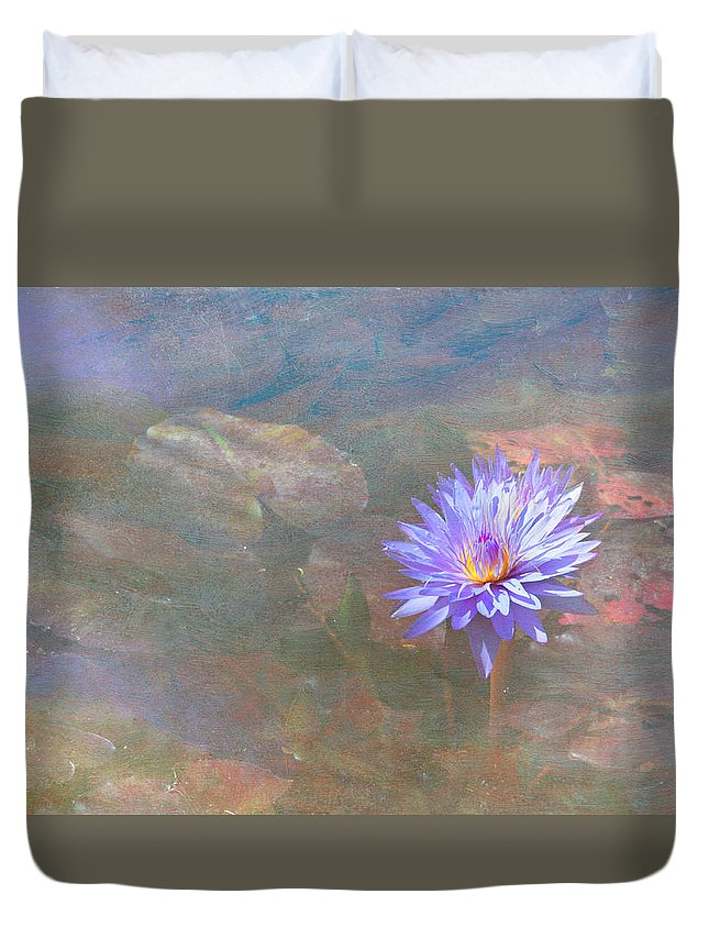 Waterlily Water Flower Duvet Cover featuring the photograph Purple Lily by Carolyn Dalessandro