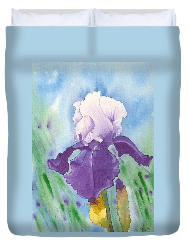Iris Duvet Cover featuring the painting Purple by Louise Magno