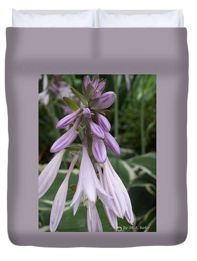 Flower Duvet Cover featuring the photograph Purple Magic by Mary ann Barker