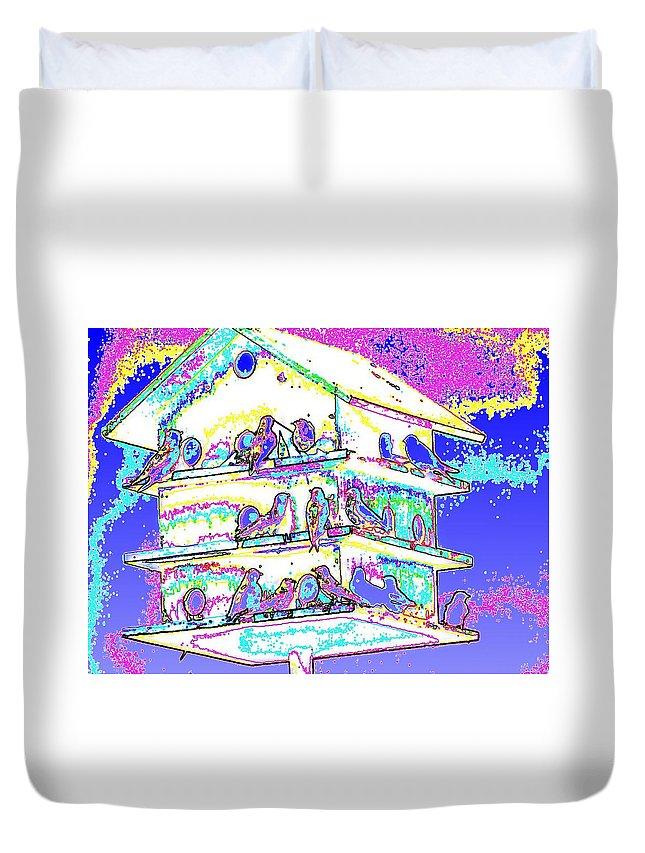 Purple Martin Duvet Cover featuring the photograph Purple Martin Bird House by Tim Allen