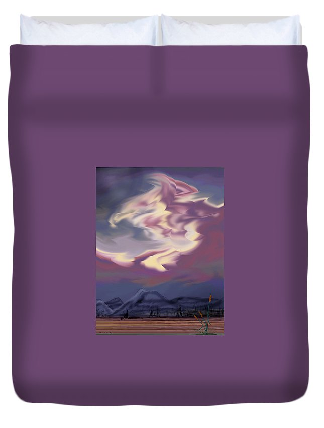 Clouds Duvet Cover featuring the painting Purple Mountain Majesty by Anne Norskog