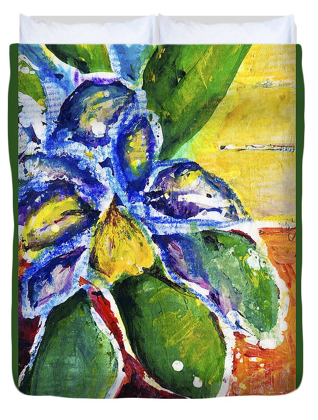 Acrylic Duvet Cover featuring the painting Purple Orchid by Julie Kerns Schaper - Printscapes