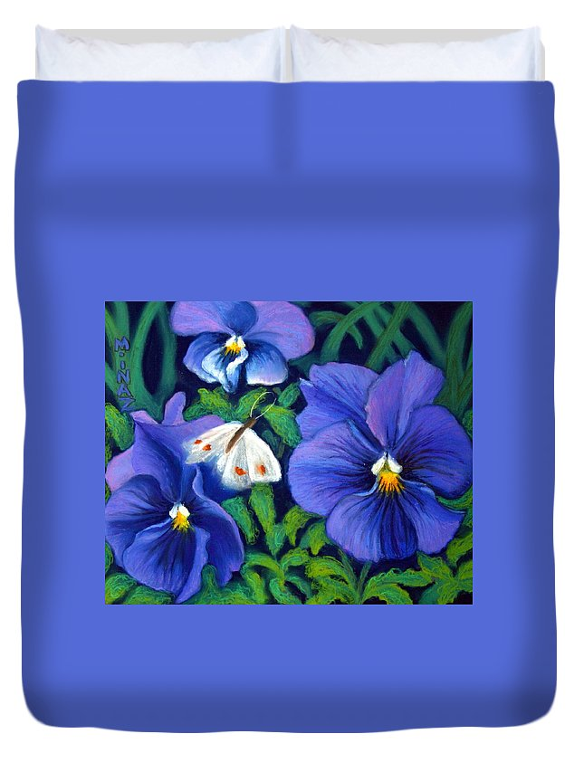 Pansy Duvet Cover featuring the painting Purple Pansies And White Moth by Minaz Jantz