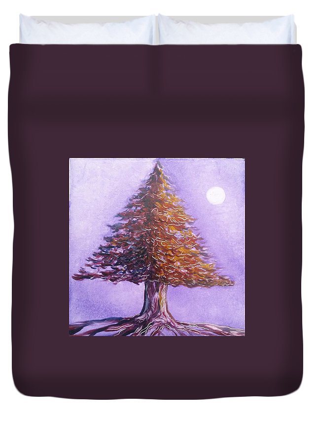 Purple Duvet Cover featuring the painting Purple Pine by Karen Doyle