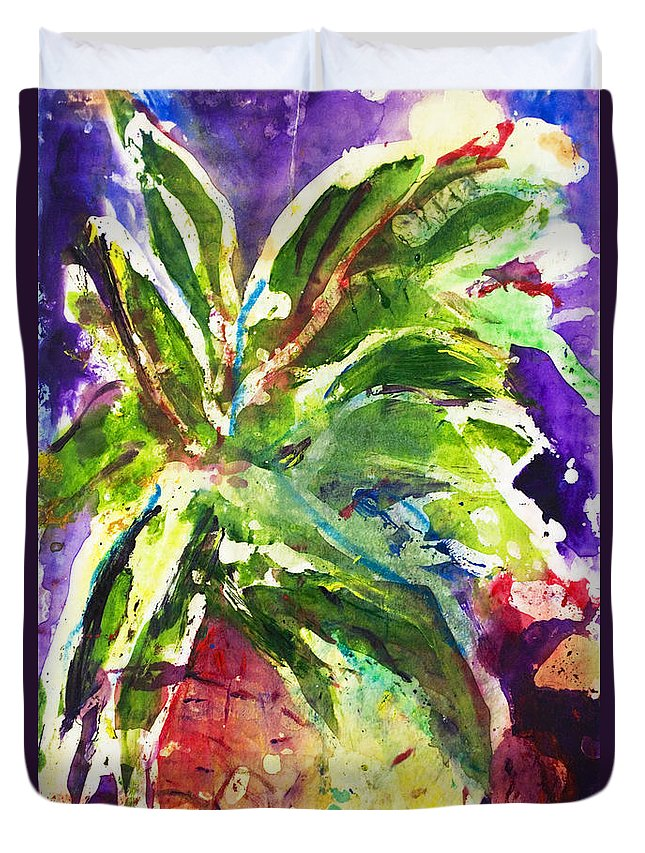 Acrylic Duvet Cover featuring the painting Purple Pineapple by Julie Kerns Schaper - Printscapes