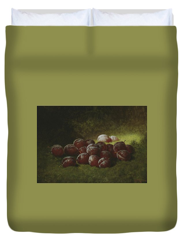Still-life Duvet Cover featuring the painting Purple Plums by Carducius Plantagenet Ream
