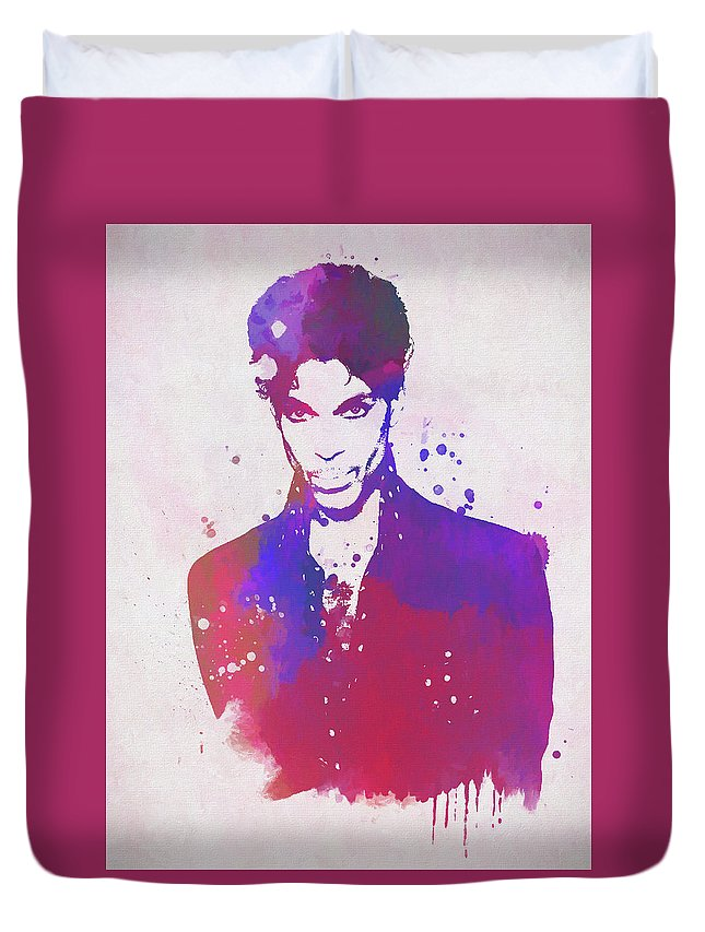 Prince Watercolor Duvet Cover featuring the painting Purple Rain by Dan Sproul