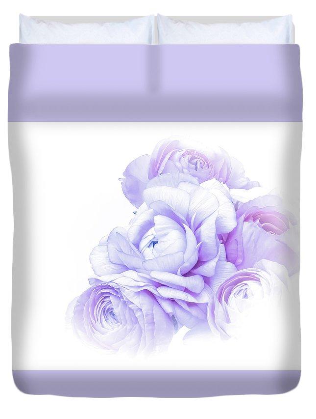 High Contrast Duvet Cover featuring the photograph Purple Ranunculus by Susan Westervelt