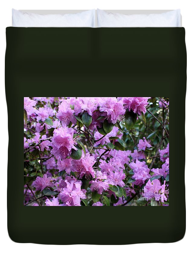 Spring Duvet Cover featuring the photograph Purple Rhododendrons by Carol Groenen