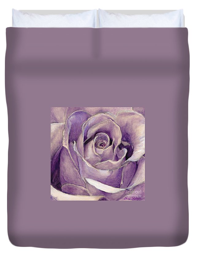 Rose Duvet Cover featuring the painting Purple Rose by Portraits By NC