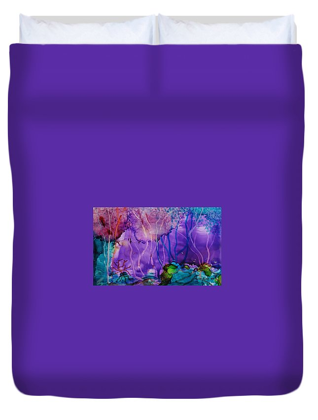 Abstract Duvet Cover featuring the painting Purple Silence by Susan Kubes