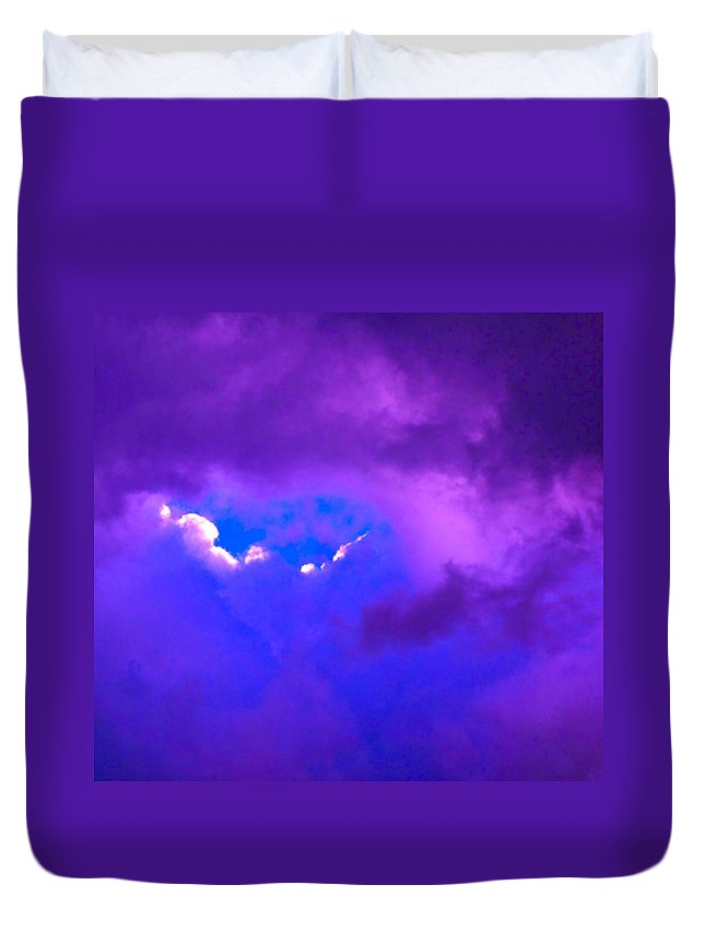 Photograph Of Clouds Duvet Cover featuring the photograph Purple Storm by Gwyn Newcombe