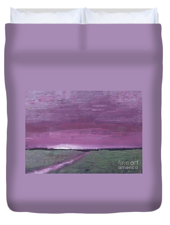 Landscape Duvet Cover featuring the painting Purple Sunset by Vesna Antic