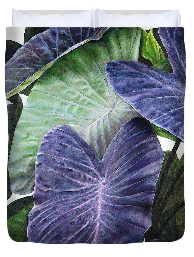 Acrylic Duvet Cover featuring the painting Purple Taro by Sandra Blazel - Printscapes
