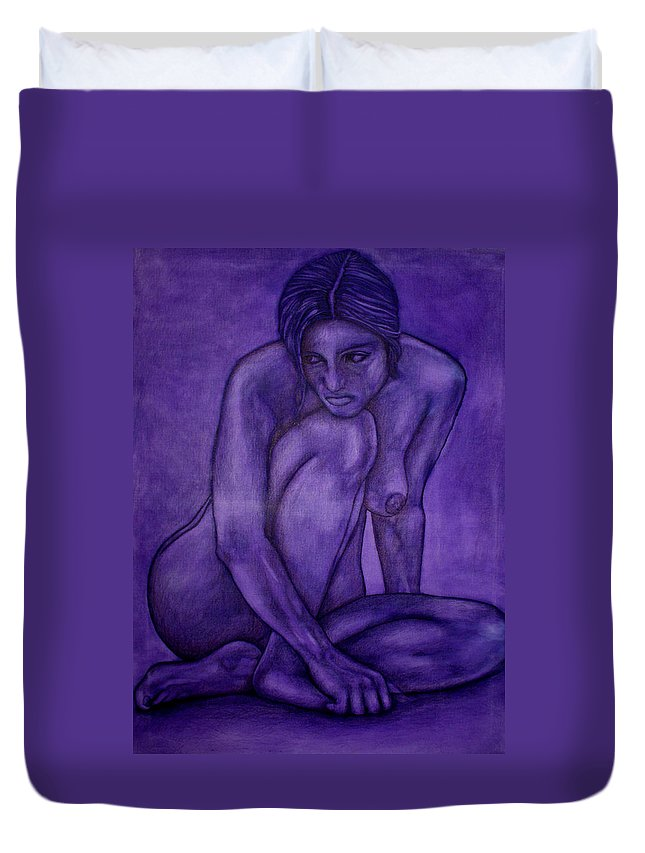 Nude Women Duvet Cover featuring the painting Purple by Thomas Valentine