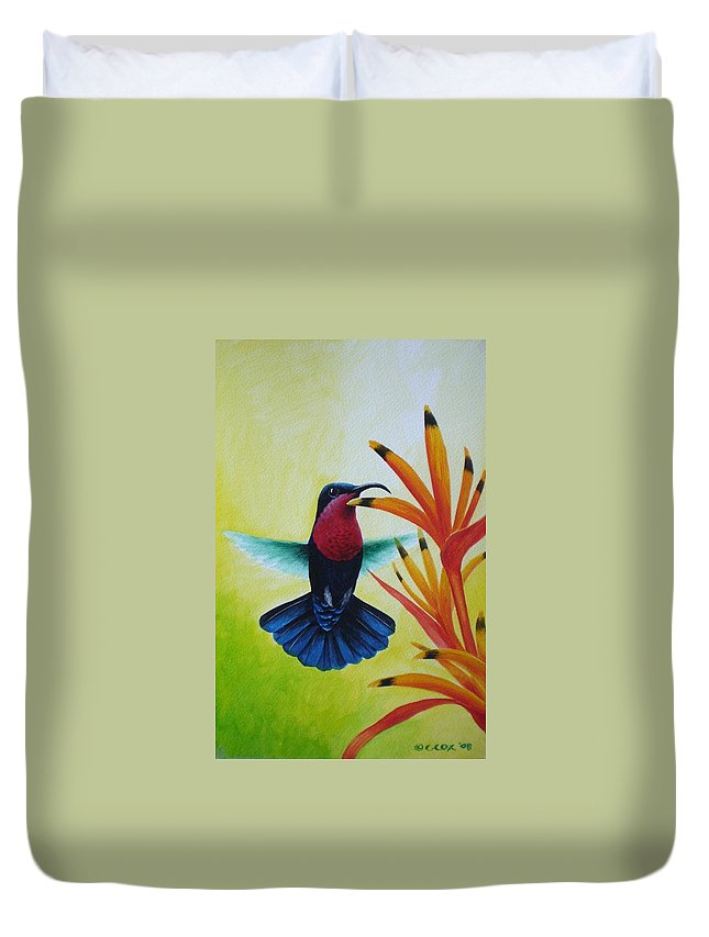 Purple-throated Carib Duvet Cover featuring the painting Purple-throated Carib And Bird Of Paradise by Christopher Cox