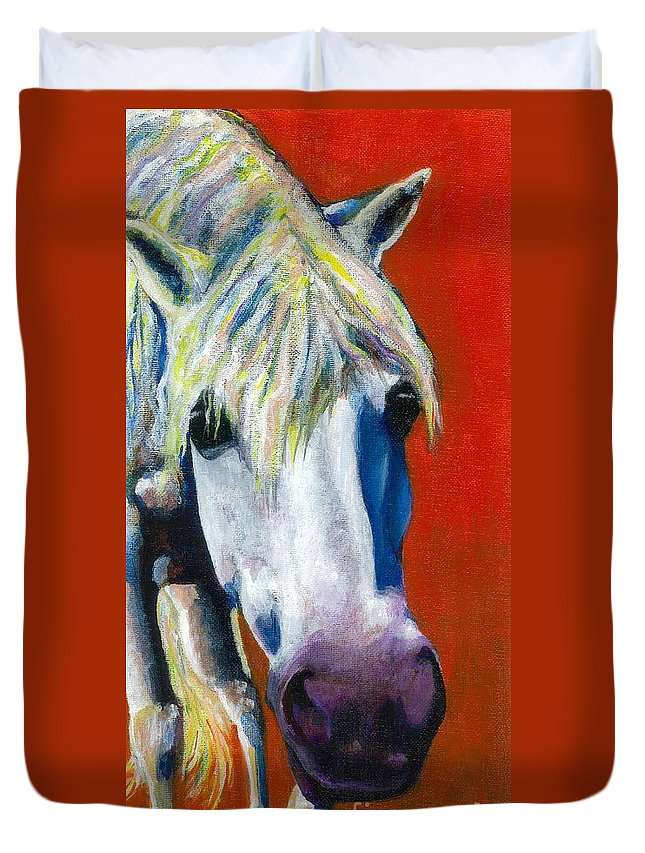 White Horse With Purple Nose Duvet Cover featuring the painting Purple Velvet by Frances Marino