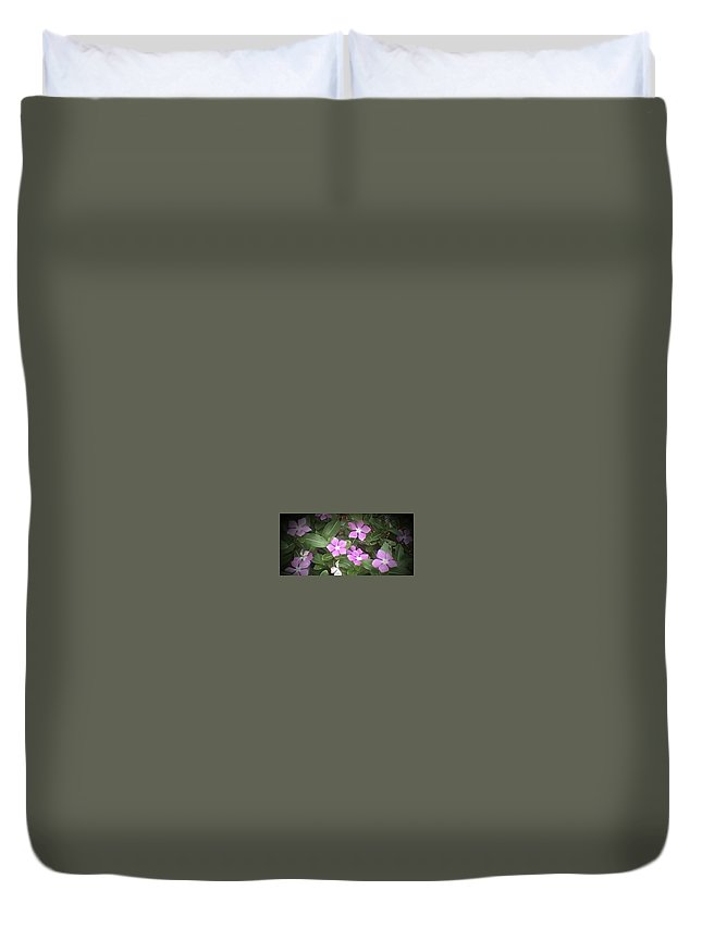 Purple Vintas Taken In Florida With Added Digital Art Duvet Cover featuring the photograph Purple Vintas Flower Photograph by Brenda Plyer