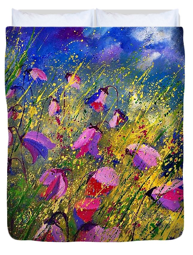 Poppies Duvet Cover featuring the painting Purple Wild Flowers by Pol Ledent