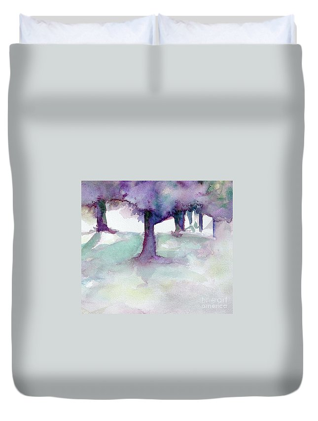 Landscape Duvet Cover featuring the painting Purplescape II by Jan Bennicoff