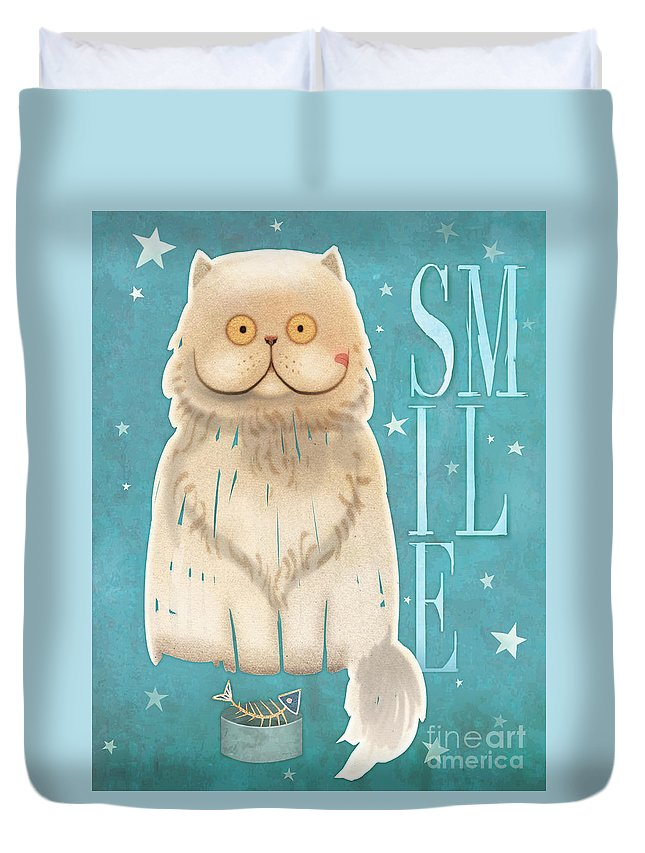 Cat Duvet Cover featuring the painting Purr, Smile Cat by Tracy Herrmann