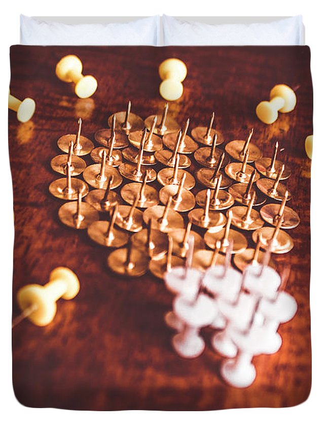 Office Duvet Cover featuring the photograph Pushpins And Thumbtacks Arranged As Light Bulb by Jorgo Photography - Wall Art Gallery