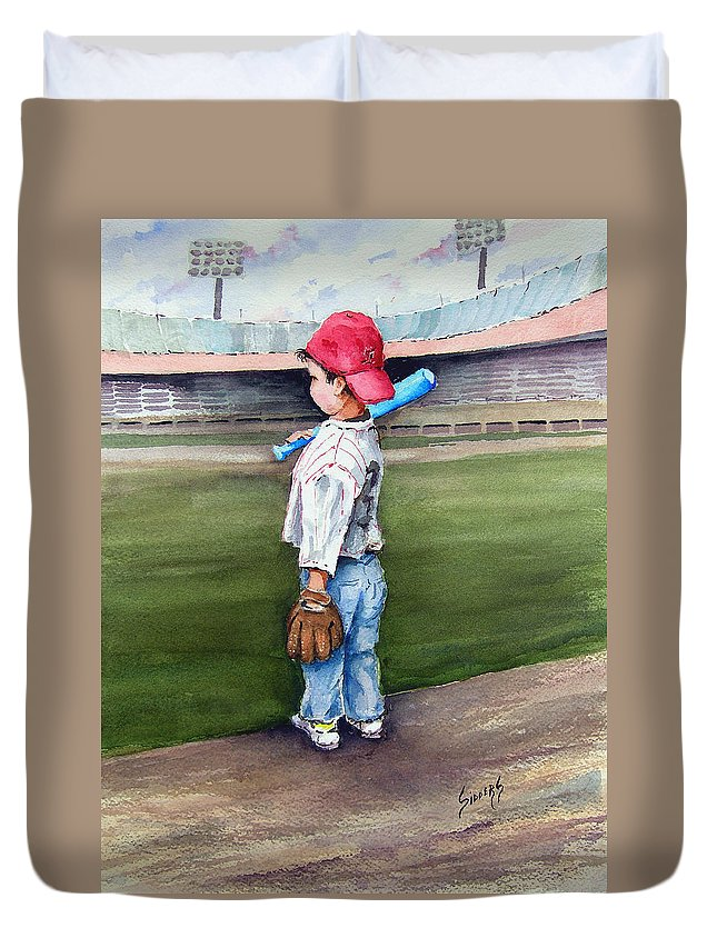 Baseball Duvet Cover featuring the painting Put Me In Coach by Sam Sidders