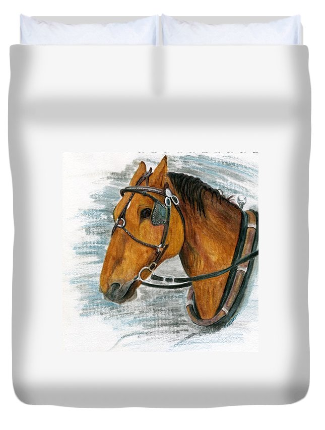 Horse Duvet Cover featuring the painting Putting In His Time by Mary Tuomi