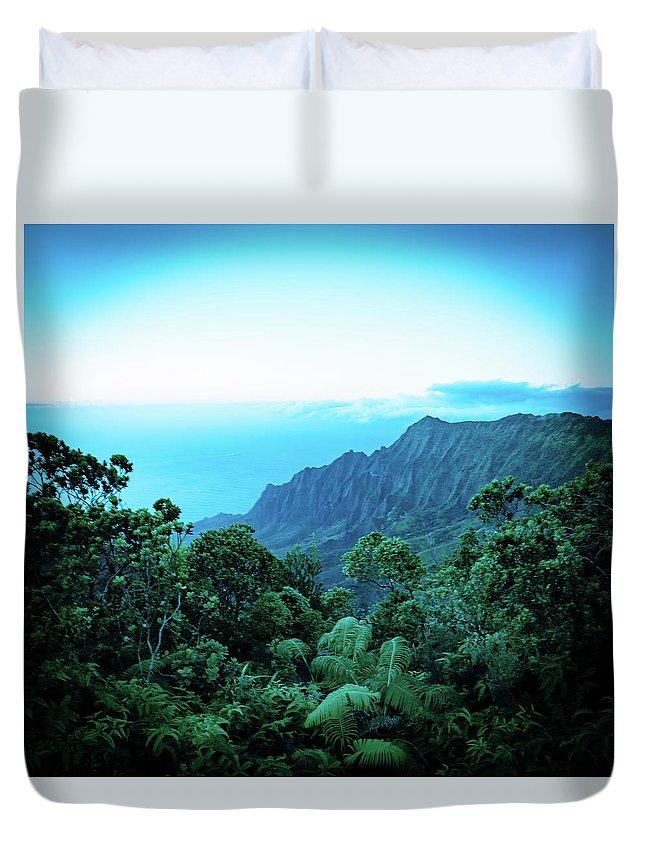 Pu'u O Kila Lookout Duvet Cover featuring the photograph Puu O Kila Lookout, Kauai, Hi by T Brian Jones