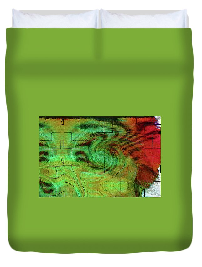 Puzzle Art Duvet Cover featuring the digital art Puzzle Face by Linda Sannuti
