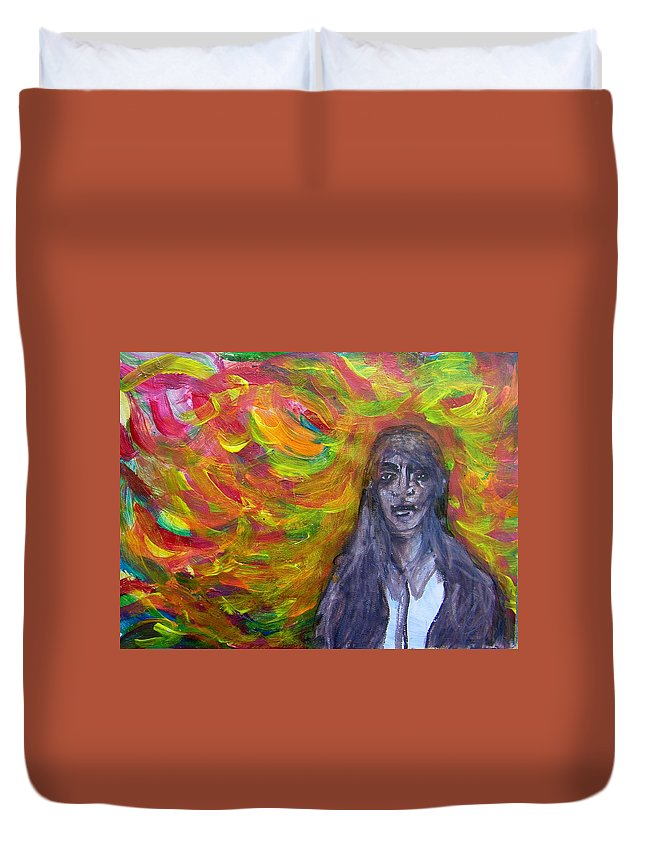 Abstract Duvet Cover featuring the painting Puzzlement And Joy When Colors Enter by Judith Redman