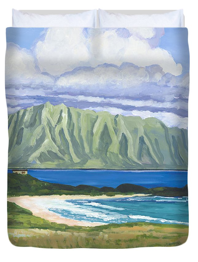Acrylic Duvet Cover featuring the painting Pyramid Rock by Patti Bruce - Printscapes