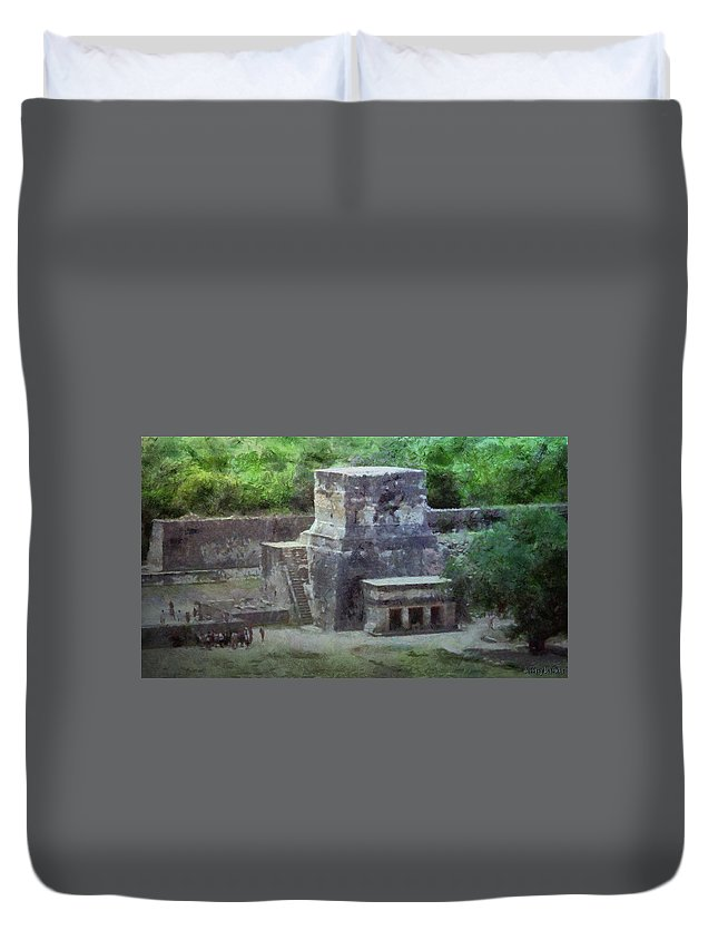 Yucatan Duvet Cover featuring the painting Pyramid View by Jeffrey Kolker