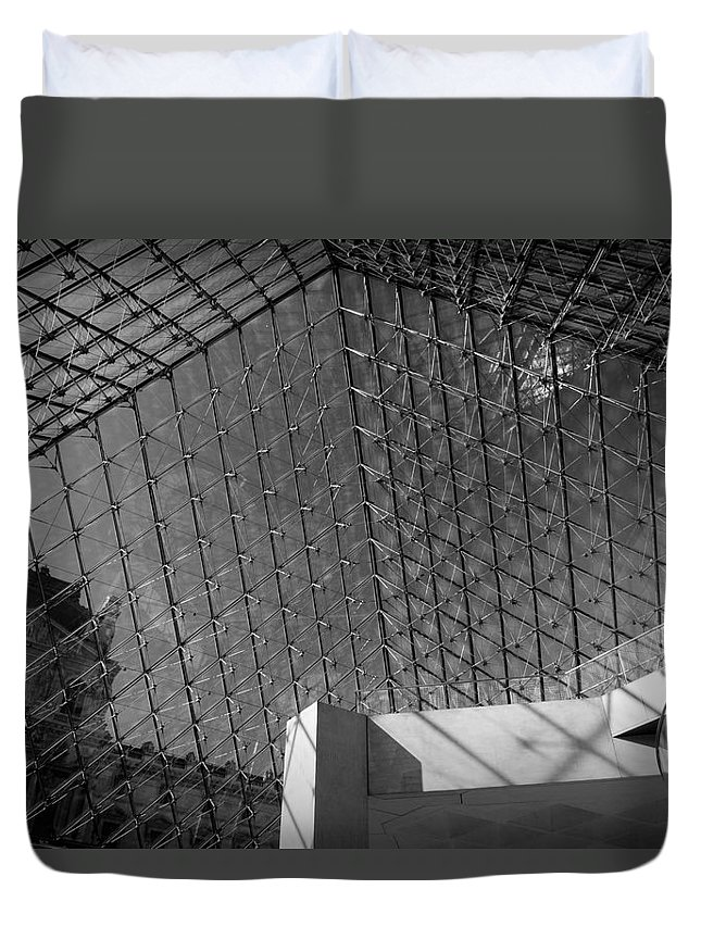 Architecture Duvet Cover featuring the photograph Pyramide Du Louvre by Sebastian Musial