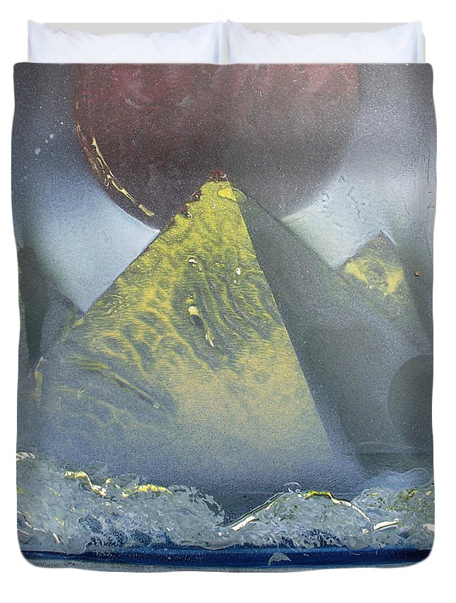 Pyramids Duvet Cover featuring the painting Pyramids Of The Red Moon by Arlene Wright-Correll