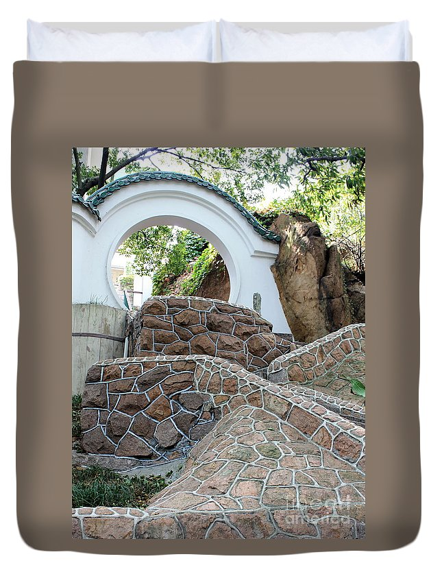 Moon Gate Duvet Cover featuring the photograph Qingdao Moon Gate by Carol Groenen