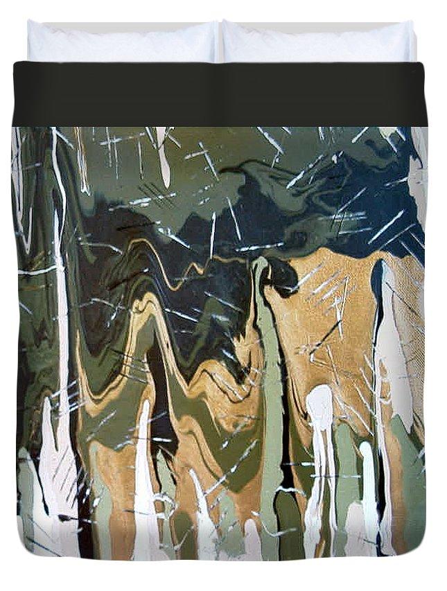 Earth Quake Duvet Cover featuring the painting Quake by Dawn Hough Sebaugh