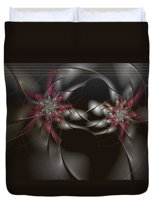 Abstract Duvet Cover featuring the digital art Quantum Collusion by Casey Kotas