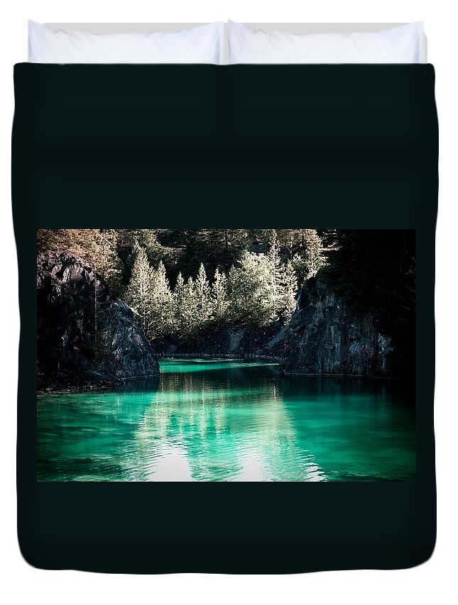 Quarry Duvet Cover featuring the photograph Quarry Waters by Danielle Silveira