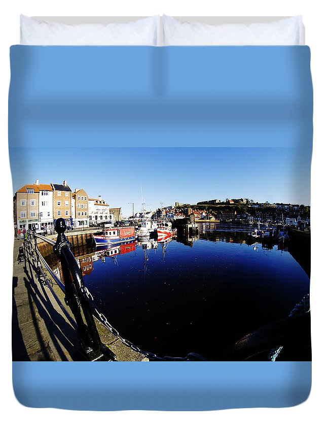 Landscape Duvet Cover featuring the photograph Quay Side 1 by Peter Jenkins