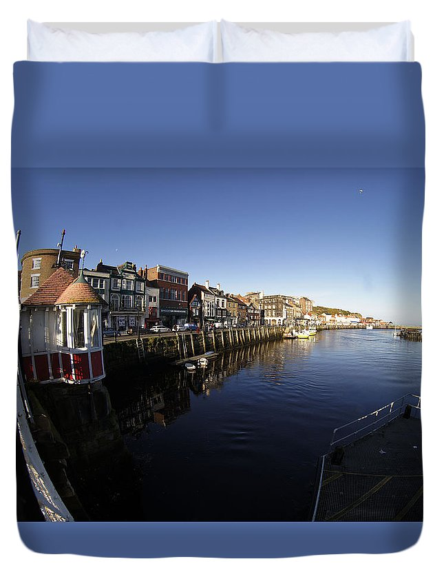 Landscape Duvet Cover featuring the photograph Quayside 2 by Peter Jenkins