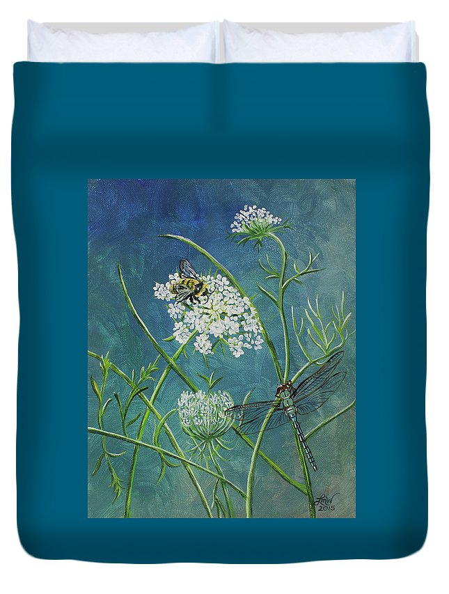 Queen Anne's Lace Duvet Cover featuring the painting Queen Anne's Lace by Laura Wilson