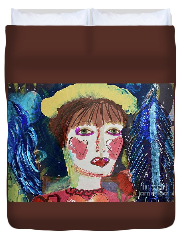 Queen Duvet Cover featuring the painting Queen Of Hearts by Kim Nelson