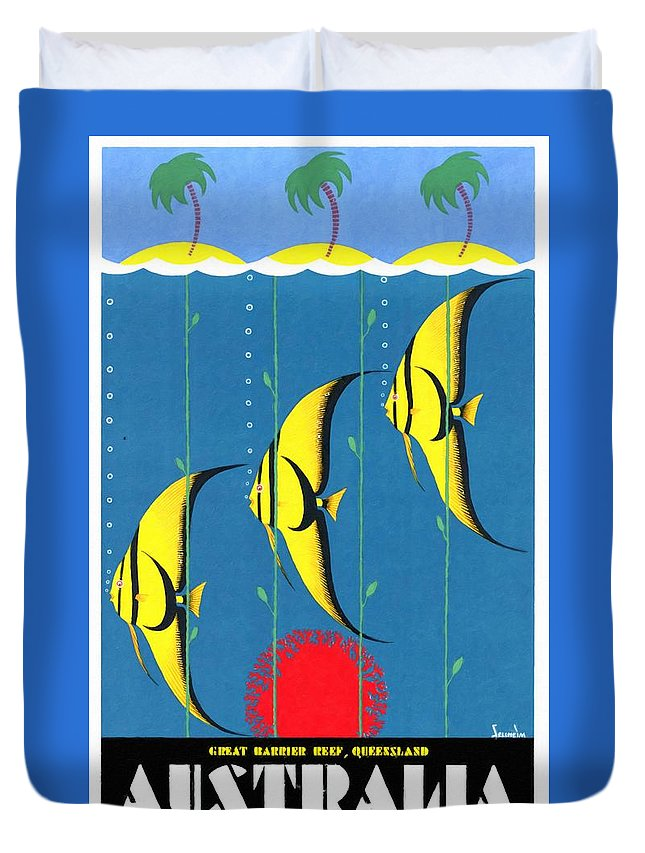 Vintage Poster Duvet Cover featuring the mixed media Queensland Great Barrier Reef - Restored Vintage Poster by Vintage Advertising Posters