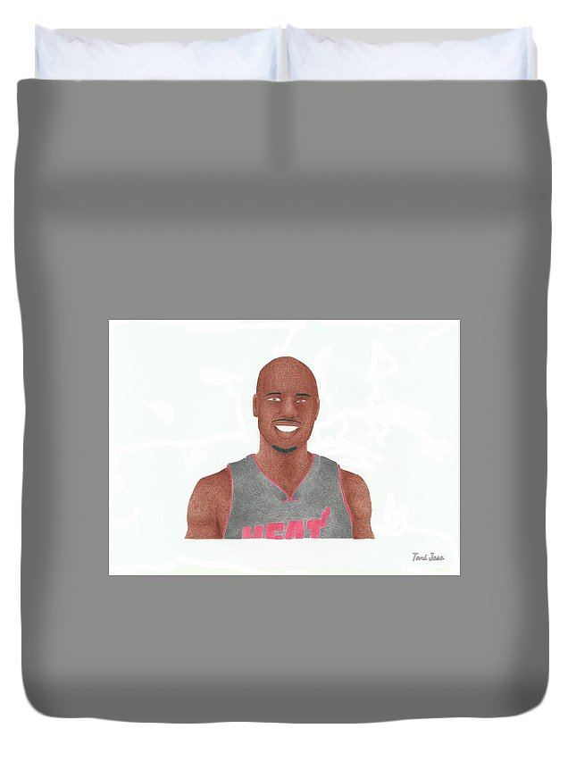 Basketball Duvet Cover featuring the drawing Quentin Richardson by Toni Jaso