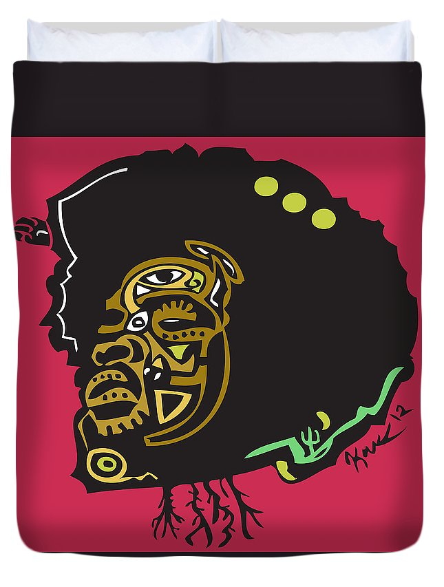 Theroots Duvet Cover featuring the digital art Questlove by Kamoni Khem