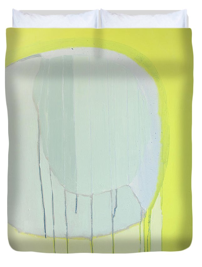 Abstract Duvet Cover featuring the painting Quien Esta? by Claire Desjardins