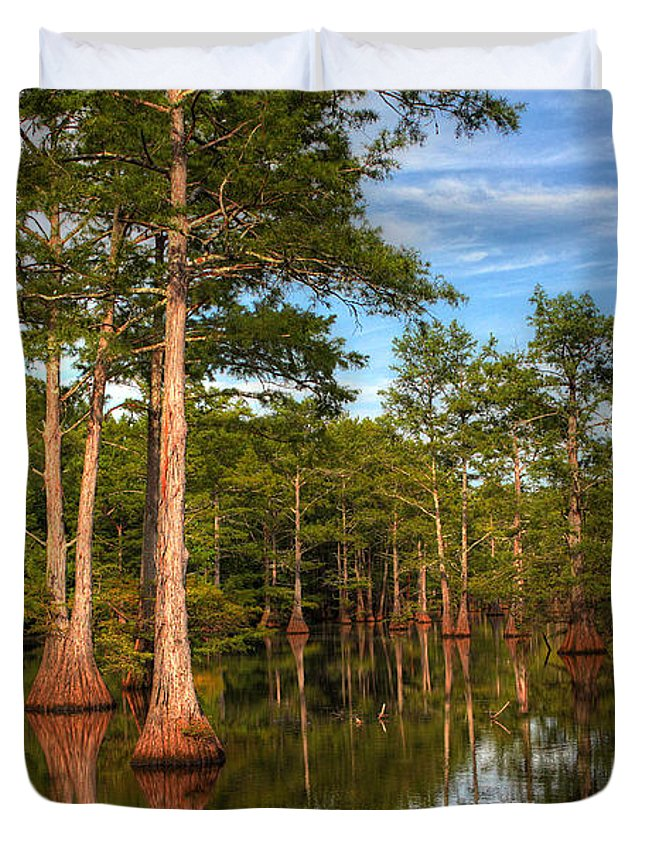 Quiet Duvet Cover featuring the photograph Quiet Afternoon At The Bayou by Ester McGuire