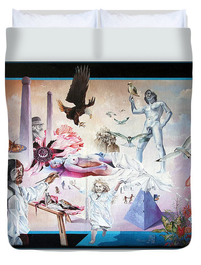 Surrealism Duvet Cover featuring the painting Quiet Afternoon At The Studio by Otto Rapp